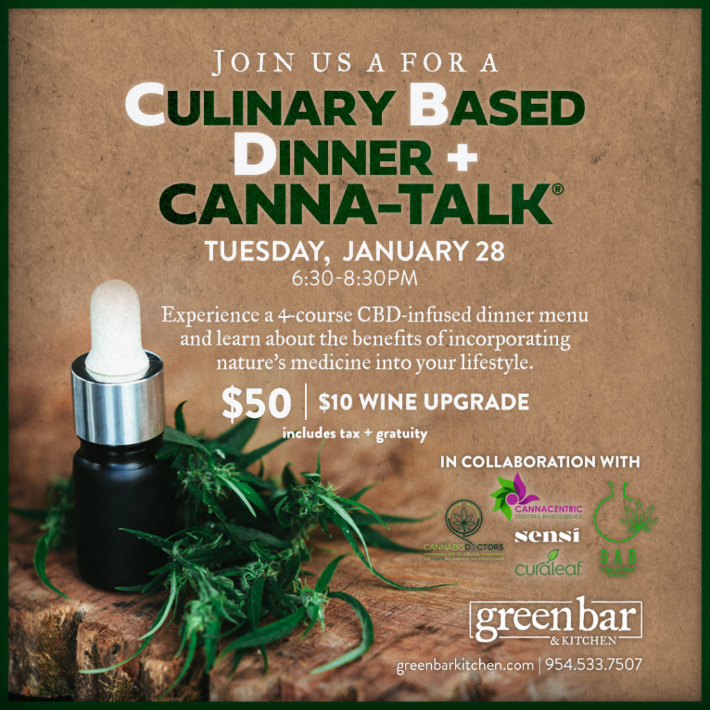 Poster for a Culinary Based Dinner + Canna-Talk on Tuesday, January 28th.